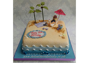 Beach Theme 50th Birthday Cake