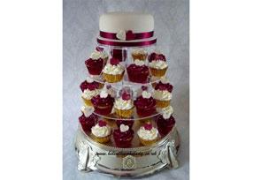 Ivory Burgundy Wedding Cupca